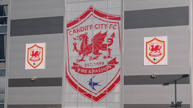 Close Up club crest and signage Cardiff City FC Football Club shot ahead of a match on the 23rd of November 2013 in Cardiff City
