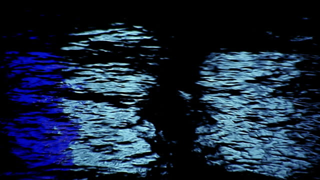 Close up colored light reflecting in water / Yarra River, Melboune
