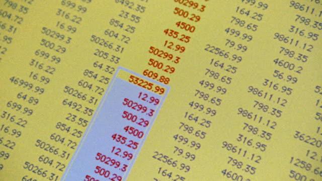 vídeos y material grabado en eventos de stock de canted close up computer display with cursor scrolling down + highlighting list of numbers - hoja de cálculo