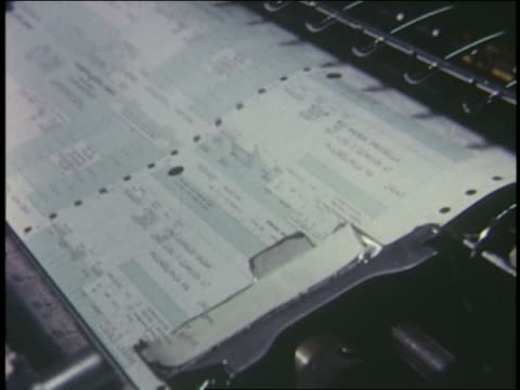 1966 close up computer paper printing out