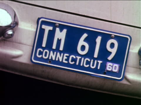 1965 close up connecticut license plate on car / industrial - number plate stock videos & royalty-free footage