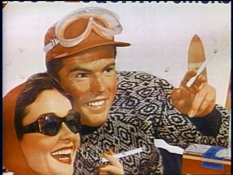 1958 illustration close up couple holding cigarettes in advertisement / colored flags blowing in wind - cigarette stock videos & royalty-free footage