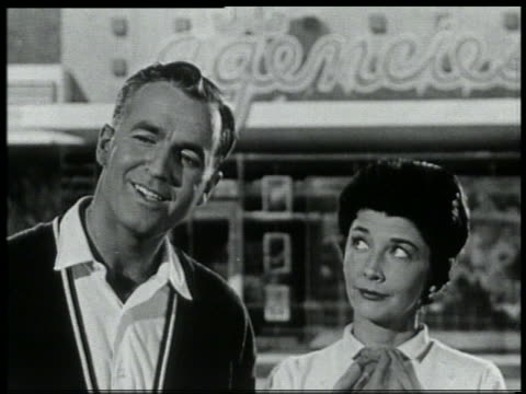 b/w 1959 close up couple looking off screen - 1959 stock videos & royalty-free footage