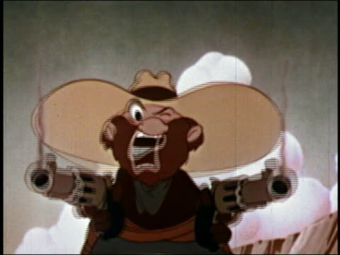 vídeos y material grabado en eventos de stock de 1947 animation close up cowboy wearing hat firing two guns / close up gun barrels and cowboy's face / audio - vaqueros