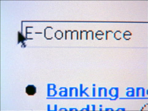 "vidéos et rushes de close up pan cursor highlighting word ""e-commerce"" then pushing ""search"" button on computer screen - 1990 1999"