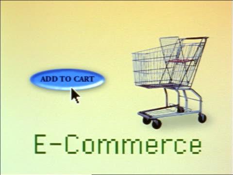 """vídeos de stock e filmes b-roll de close up cursor on computer screen pushing """"add to cart"""" button near shopping cart above """"e-commerce"""" - 1990 1999"""