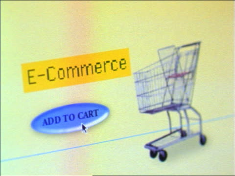 "vídeos de stock e filmes b-roll de close up cursor on computer screen pushing ""add to cart"" button near shopping cart by words ""e-commerce"" - 1999"