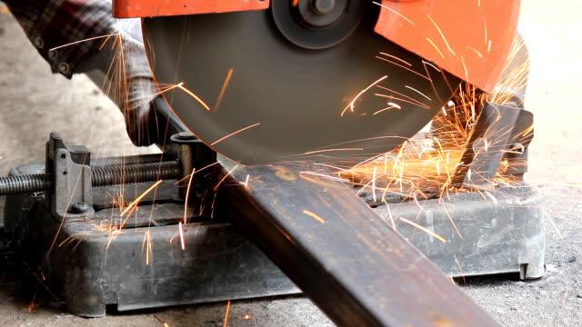Close Up Cutting Steel By Fiber Cutter