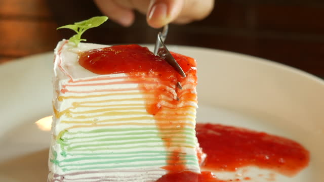 close up cutting strawberry cheesecake - dessert stock videos & royalty-free footage