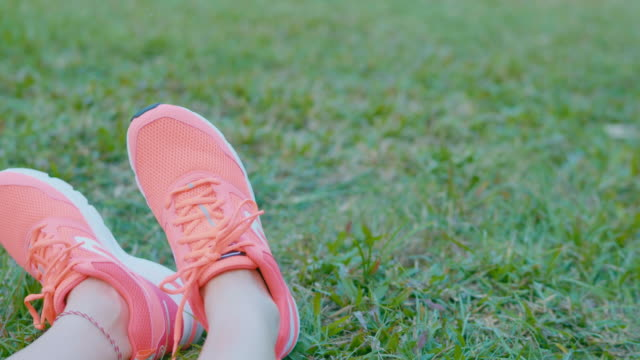 close up detail view of female teenager's legs - trainer stock videos & royalty-free footage