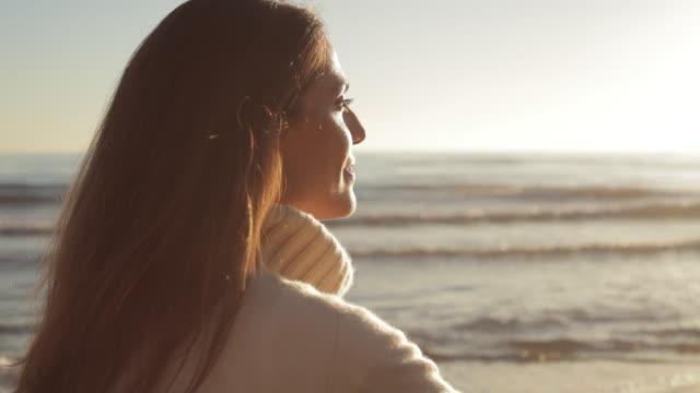 Close up dolly shot of woman at the beach/Marbella region, Spain
