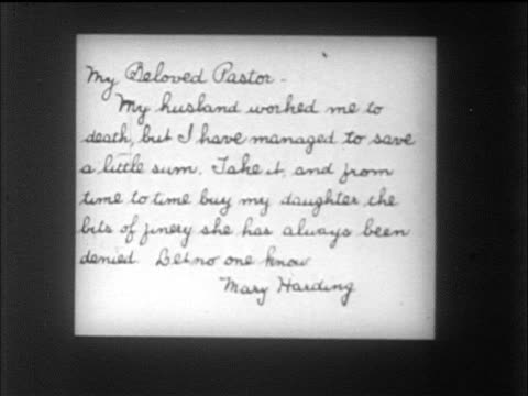 "vídeos de stock e filmes b-roll de b/w 1912 close up dramatic letter written to ""my beloved pastor"" - mensagem"