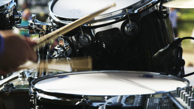 close up, drummer hits snare drum - drum percussion instrument stock videos and b-roll footage