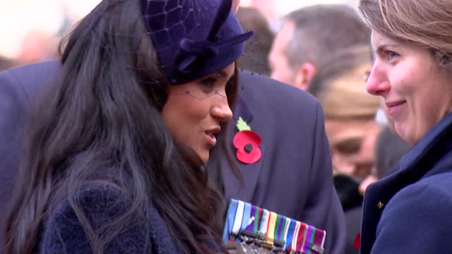 close up duchess of sussex greeting people at the 91st field of remembrance at westminster abbey - monument stock videos & royalty-free footage