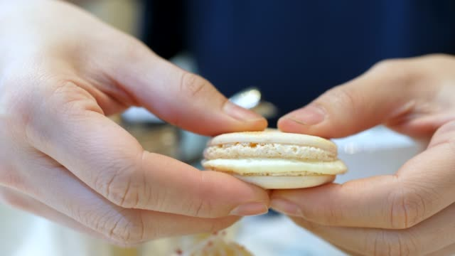 close up eating macaroon - french culture stock videos & royalty-free footage