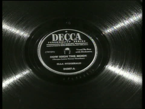 b/w close up ella fitzgerald 78 rpm record spinning on phonograph - ella fitzgerald stock videos & royalty-free footage