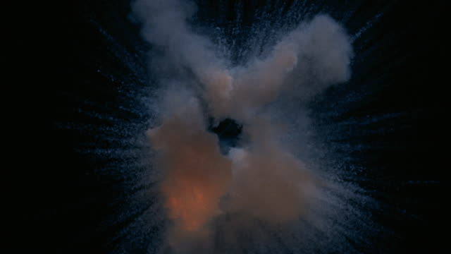 close up explosion against black backdrop / spark followed by fireball and smoke - exploding stock videos & royalty-free footage