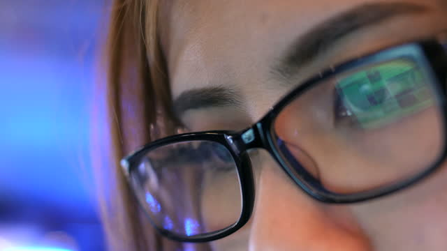 close up eye glasses looking digital data - ladder of success stock videos & royalty-free footage