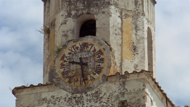 close up face of clock on bell tower of chiesa di san giovanni in pontone / salerno, campania, italy - roman numeral stock videos & royalty-free footage