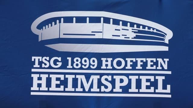close up, fan articles of the tsg 1899 hoffenheim are seen in front of the wirsol rhein-neckar arena prior to the bundesliga match between tsg 1899... - 1899 bildbanksvideor och videomaterial från bakom kulisserna