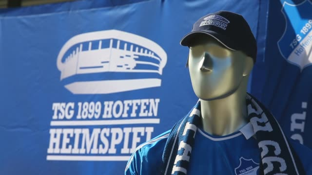 close up, fan articles of the tsg 1899 hoffenheim are seen in front of the wirsol rhein-neckar arena prior to the bundesliga match between tsg 1899... - 1899 stock videos & royalty-free footage