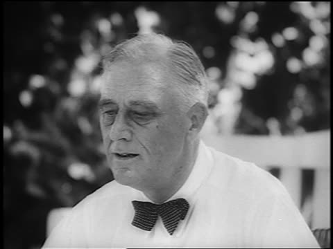 b/w 1944 close up pan fdr sits talks with smiling harry s truman outdoors / newsreel - harry truman stock videos and b-roll footage