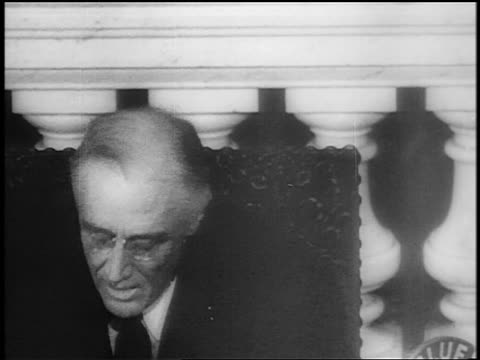 close up fdr sits up at desk to speak last address to congress / capitol bldg / newsreel - only mature men stock videos & royalty-free footage
