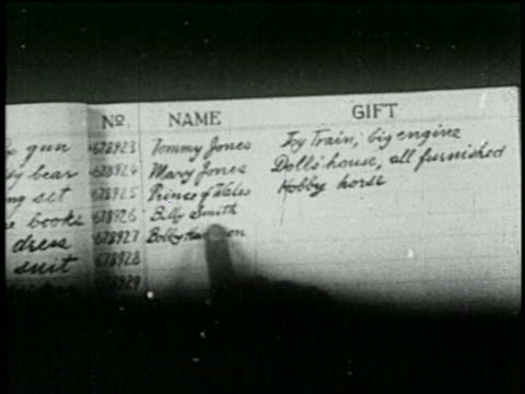 b/w 1925 close up finger pointing to names on santa's christmas list - 1925 stock videos & royalty-free footage