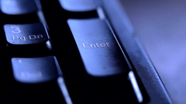 close up finger pressing the enter key on keyboard. - enter key stock videos & royalty-free footage