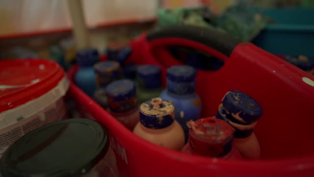 close up footage of a painting and household equipment in slow motion - restoring stock videos & royalty-free footage