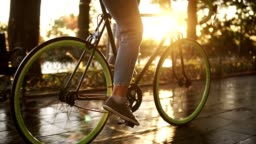 Close up footage of female feet cycling a bicycle in the morning park or boulevard. Side view of a young woman riding a trekking bike, wearing sneakers and jeans. Sun shines on the background
