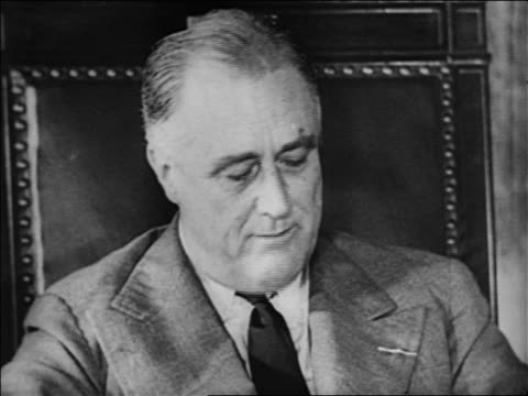 b/w 1932 close up franklin roosevelt talking looking down / looks up laughs - 1932 stock videos & royalty-free footage