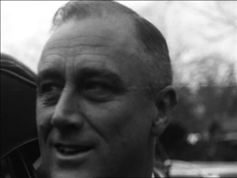 b/w 1932 close up franklin roosevelt talking outdoors / accepting nomination - 1932 stock-videos und b-roll-filmmaterial