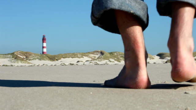 close up from feet in a dune landscape - sylt stock videos & royalty-free footage
