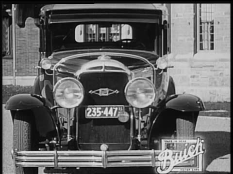 b/w 1928 close up front of buick / industrial - 1928 stock videos & royalty-free footage