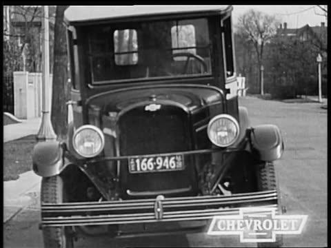 vidéos et rushes de b/w 1928 close up front of chevrolet truck / industrial - chevrolet