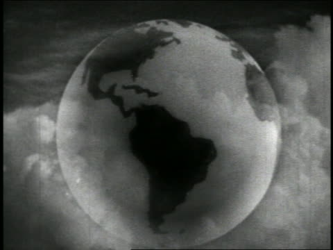 B/W 1942 MULTIPLE EXPOSURE close up globe spinning by moving clouds + flash of lightning / educational