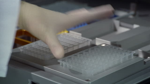 close up gloved hand placing sample holder in tray / removing sample holder from tray - campione di laboratorio video stock e b–roll