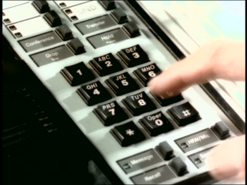 close up hand of man picking up telephone receiver + dialing - 1998 stock videos & royalty-free footage