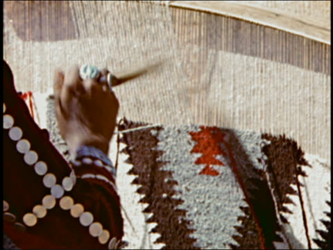 Close up hand of woman weaving rug on heddle beam handloom