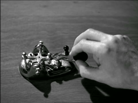 b/w 1946 close up hand pressing telegraph transmitter - telegraph stock videos & royalty-free footage