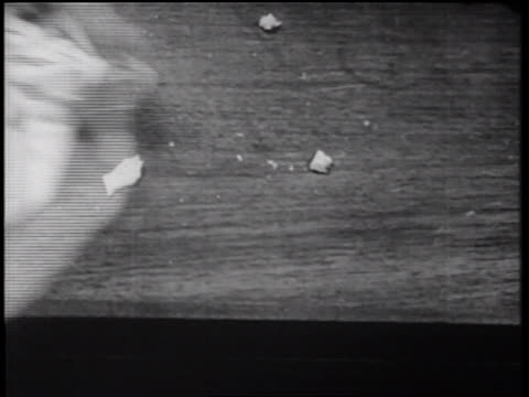 b/w 1939 close up hand wiping crumbs from counter / documentary - crumb stock videos and b-roll footage