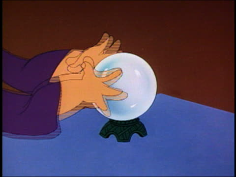 1957 animation close up hands of a fortune teller waving around a crystal ball - 謎点の映像素材/bロール