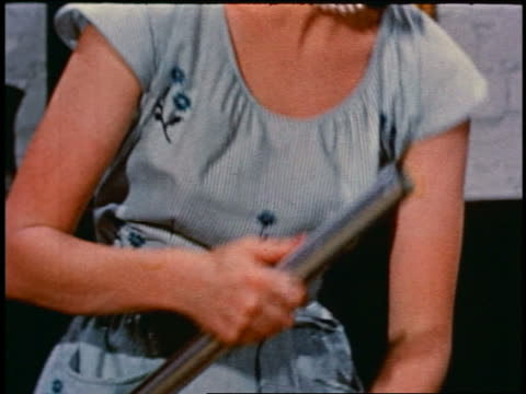 1950 close up hands of woman attaching metal tubes to vacuum hose - stay at home mother stock videos & royalty-free footage