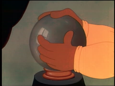 vídeos de stock e filmes b-roll de 1939 animated close up hands rubbing crystal ball / ball + background changing color - animation moving image