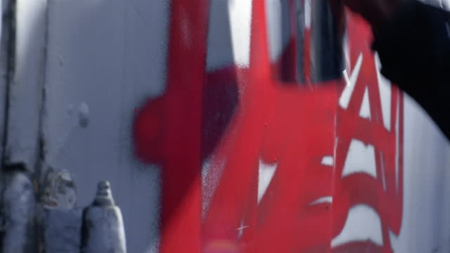 close up hands spraying paint on wall - 2003 stock videos & royalty-free footage