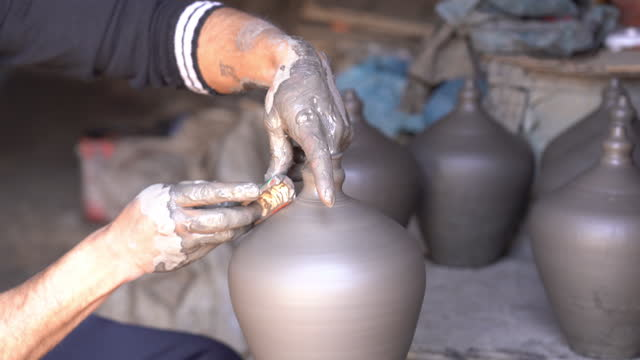 close up hands working on pottery wheel - vase stock videos & royalty-free footage
