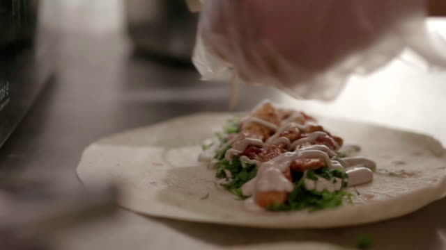 close up hard of chef cooking or prepare kebab food with vegetable and sauce - kebab stock videos and b-roll footage
