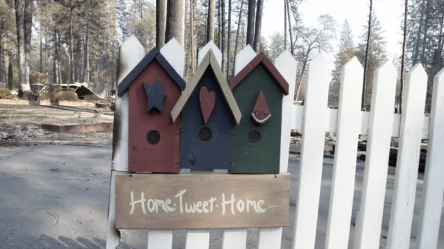 Close up, home sweet home sign near California rubble