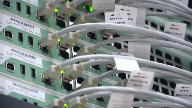 close up hub cable network in server room - usb cable stock videos & royalty-free footage